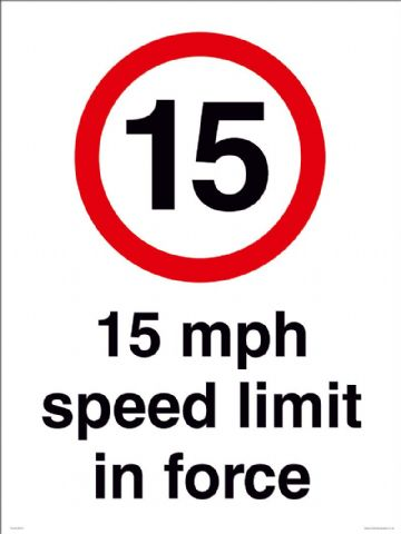 15 mph speed limit in force